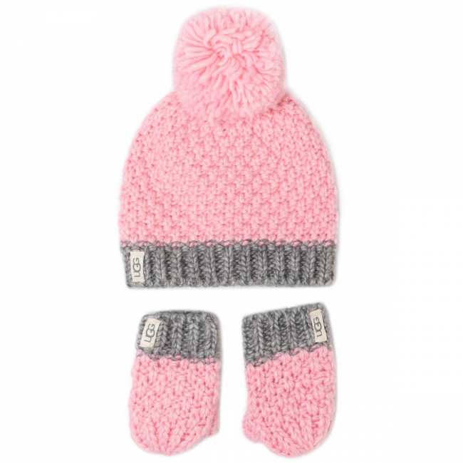Sada čiapka a rukavice UGG - K Infant Knit Hat And Mitt Set 18802  Seashell Pink
