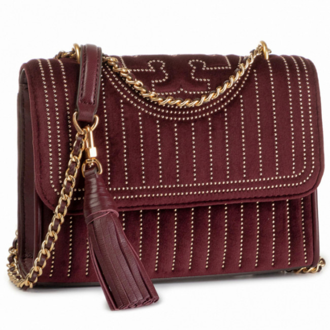 Kabelka TORY BURCH - Fleming Mini Stud Velvet Small Shoulder Bag 56277 Claret 639