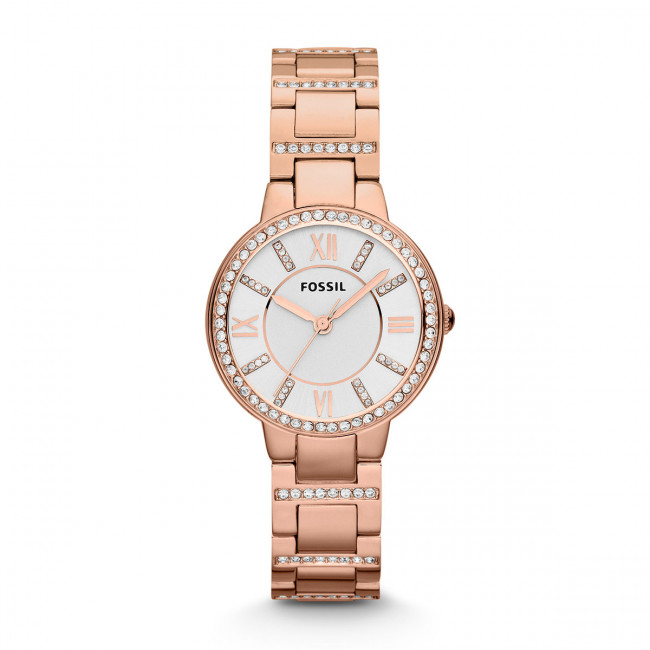 Hodinky FOSSIL - Virginia ES3284 Rose Gold/Silver