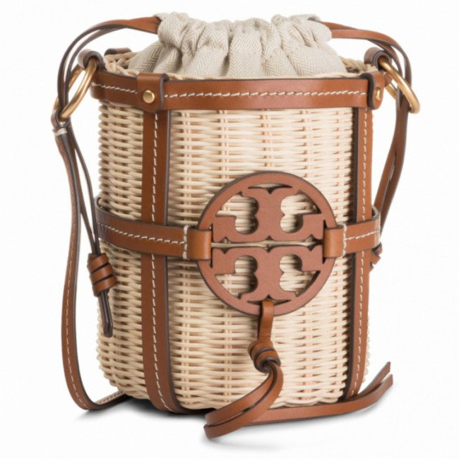 Kabelka TORY BURCH - Miller Wicker Bucket Bag 55297 Classic Tan 905
