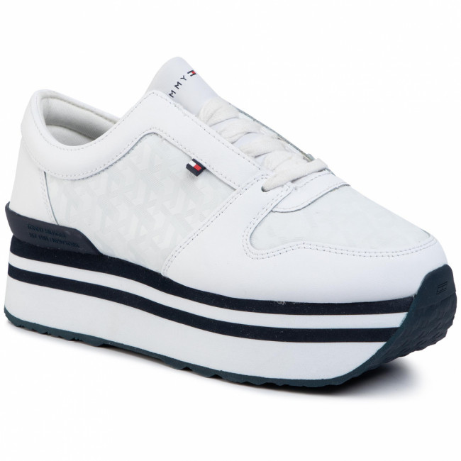 Sneakersy TOMMY HILFIGER - Tommy Jacquard Flatform Sneaker FW0FW04680  White YBS