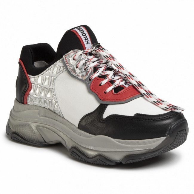 Sneakersy BRONX - 66167E-ML Black/Red/White/Silver