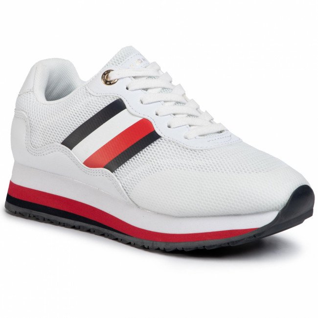 Sneakersy TOMMY HILFIGER - Sporty Tommy Retro Runner FW0FW04688 White YBS
