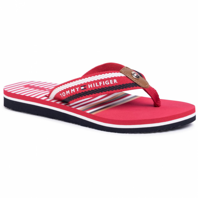 Žabky TOMMY HILFIGER - Stripy Flap Beach Sandal FW0FW04799 Primary Red XLG