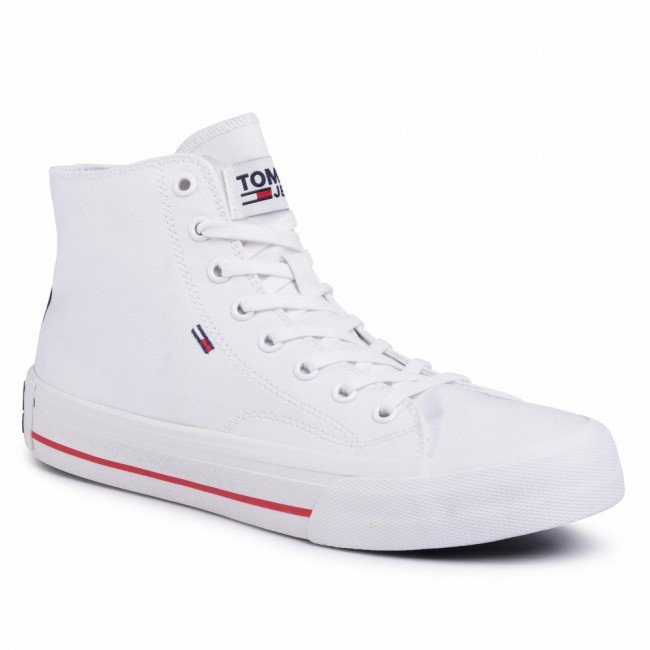 Sneakersy TOMMY JEANS - Classic Mid Tommy Jeans Sneaker EM0EM00402 White YBS
