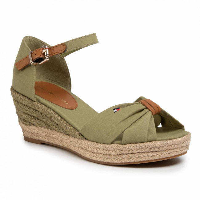 Espadrilky TOMMY HILFIGER - Basic Opened Toe Mid Vedge FW0FW04785 Faded Olive L9F