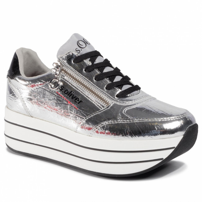 Sneakersy S.OLIVER - 5-23641-34 Silver Crackle 945