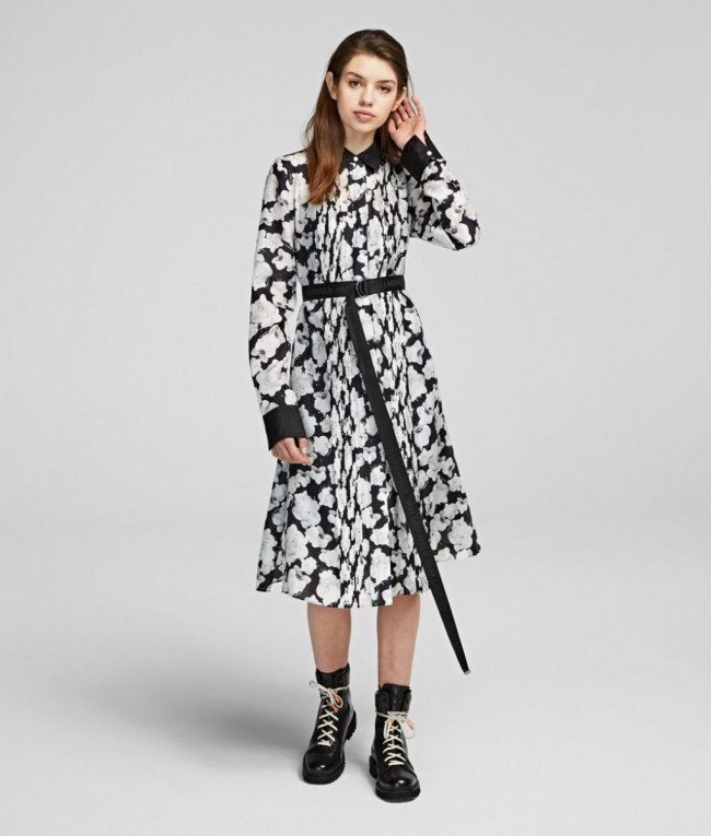 Šaty Karl Lagerfeld Orchid Print Silk Shirt Dress