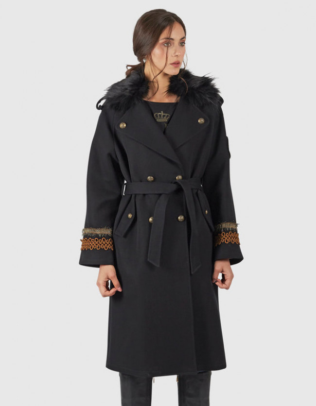 Kabát La Martina Woman Cotton Twill Trench - Čierna