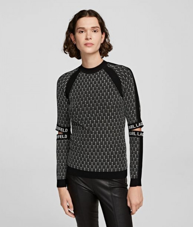 Sveter Karl Lagerfeld Cut-Out Sleeve Knit Sweater