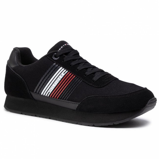 Sneakersy TOMMY HILFIGER - Corporate Material Mix Runner FM0FM02835 Black BDS