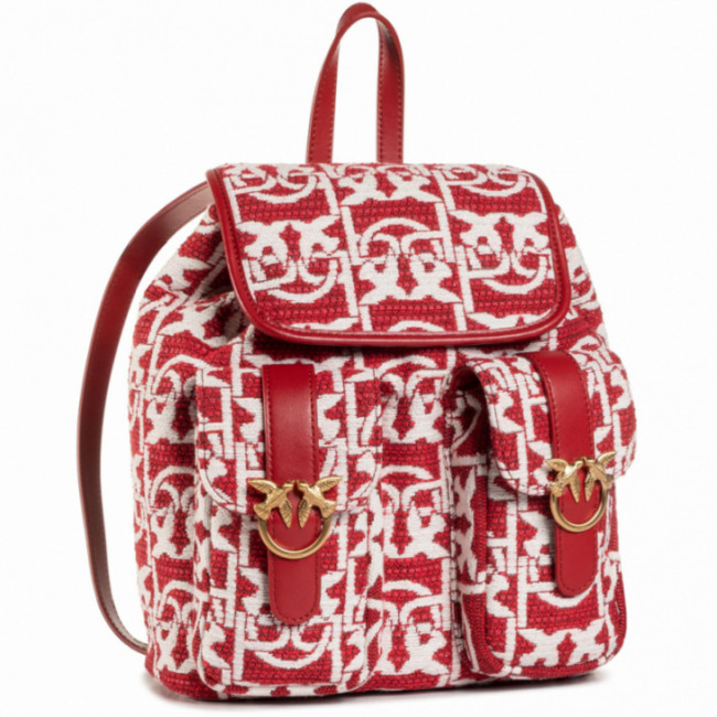 Ruksak PINKO - Love Mini Backpack Monogram AI 20-21 PLTT 1P21WB Y6NQ Rosso/Bian RZ1
