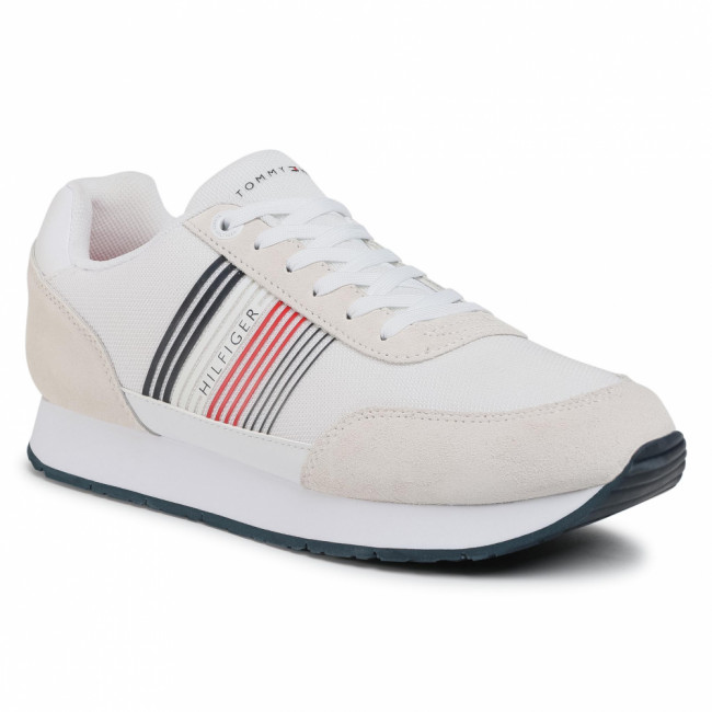 Sneakersy TOMMY HILFIGER - Corporate Material Mix Runner FM0FM02835 White YBR