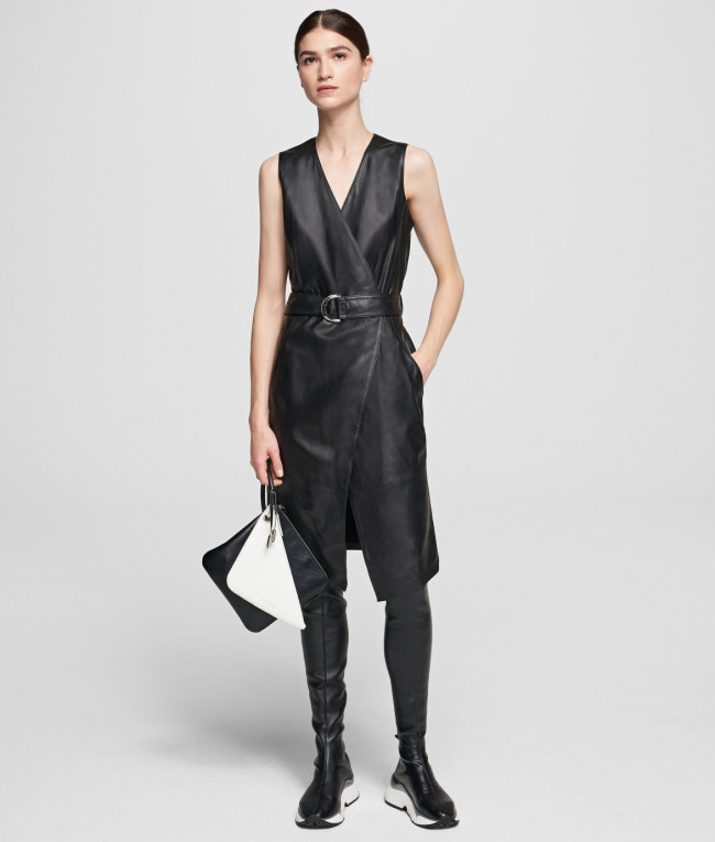 Šaty Karl Lagerfeld Leather Wrap Dress
