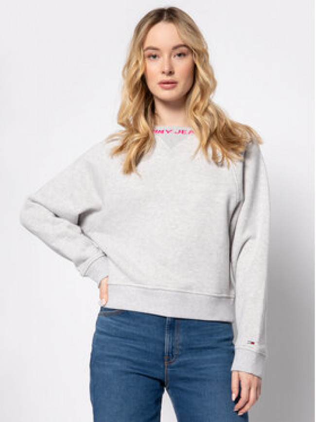Tommy Jeans Mikina Tjw Branded DW0DW07554 Sivá Relaxed Fit