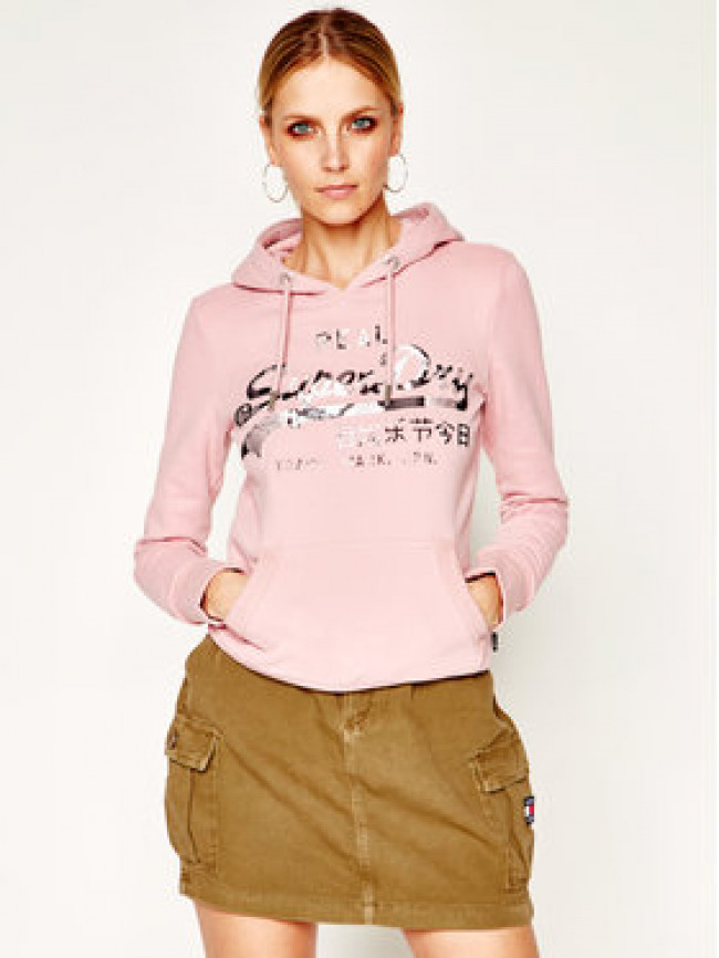Superdry Mikina Photo Rose Entry Hood W2010129B Ružová Regular Fit