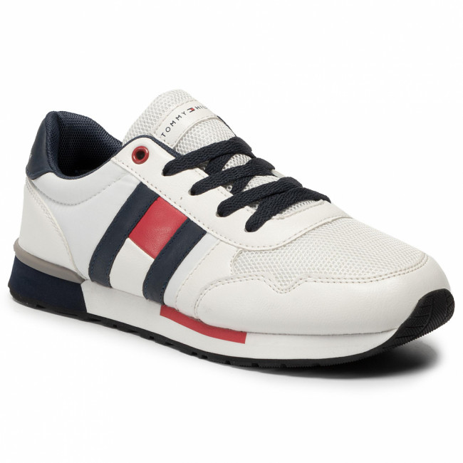 Sneakersy TOMMY HILFIGER - Low Cut Lace-Up Sneaker T3B4-30483-0733 White/Blue X336