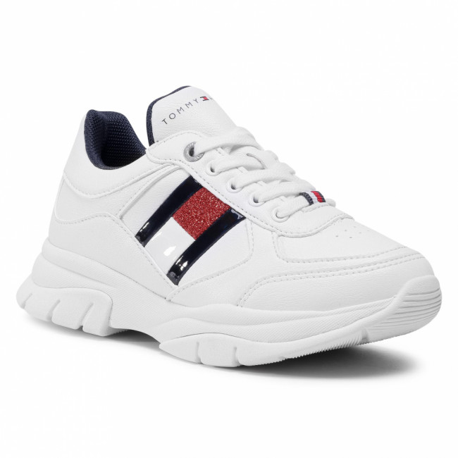 Sneakersy TOMMY HILFIGER - Low Cut Lace-Up Sneaker T3A4-30816-1023100 M White 100