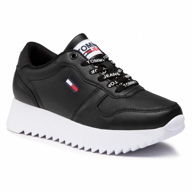 Sneakersy TOMMY JEANS - High Cleated Leather Sneaker EN0EN01120 Black BDS