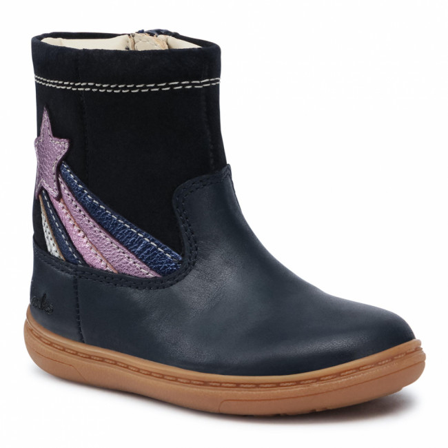 Čižmy CLARKS - Flash Shine T 261521746 Navy Leather