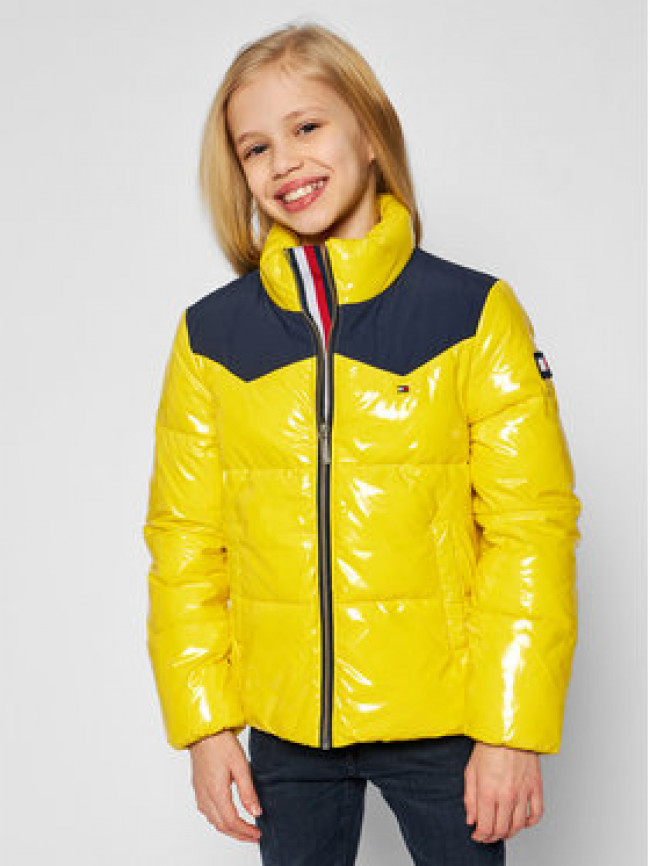 Tommy Hilfiger Vatovaná bunda Shiny Yoke Puffer KG0KG05384 D Žltá Regular Fit