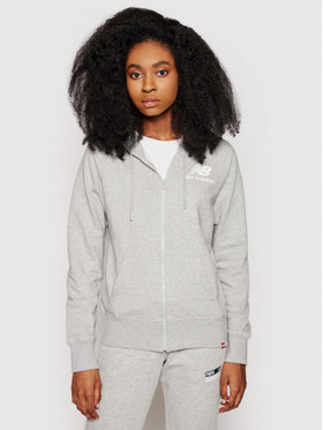 New Balance Mikina Essentials WJ03530 Sivá Relaxed Fit