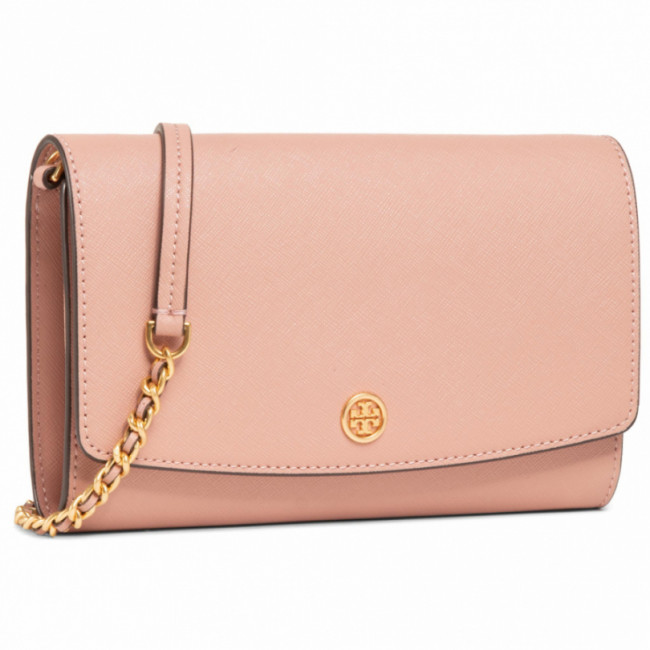 Kabelka TORY BURCH - Robinson Chain Wallet 54277 Pink Moon/Rolled Brass 958