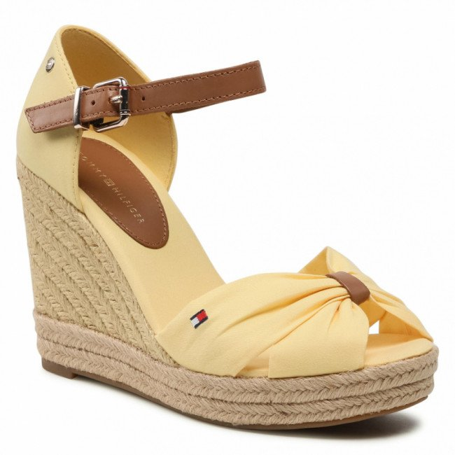Espadrilky TOMMY HILFIGER - Basic Opened Toe High Wedge FW0FW04784 Delicate Yellow ZFF