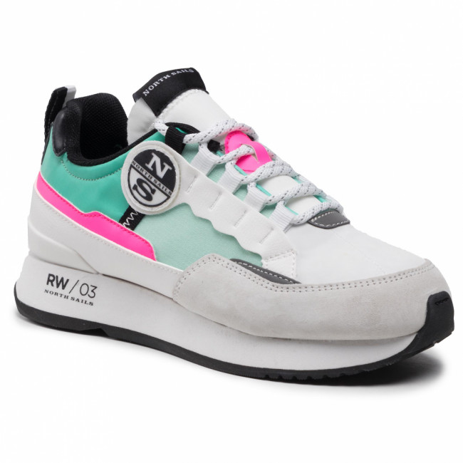 Sneakersy NORTH SAILS - 038 RW-03 Reff White/Water Green/Pink Fluo