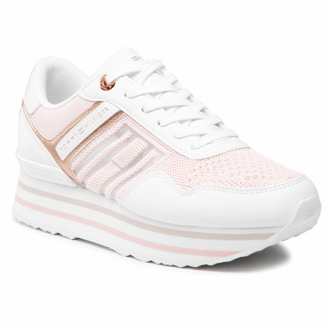 Sneakersy TOMMY HILFIGER - Knitted Flatform Sneaker FW0FW05555 Light Pink TOG
