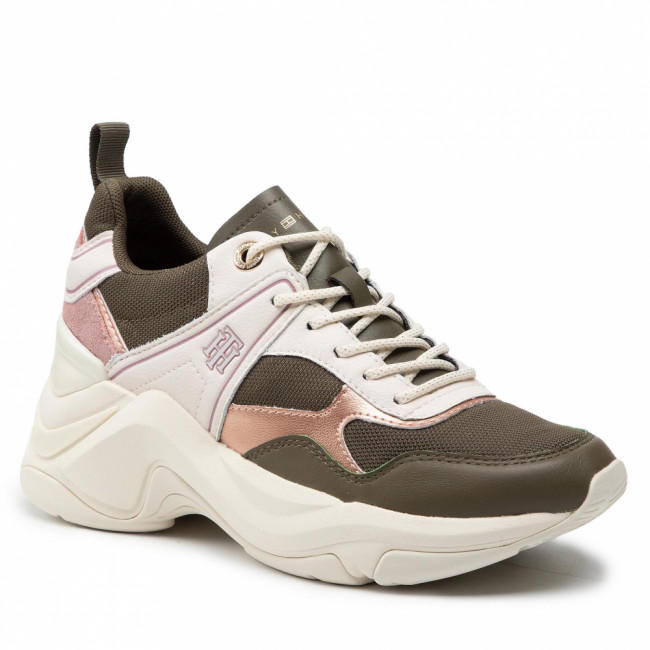 Sneakersy TOMMY HILFIGER - Fashion Wedge Sneaker FW0FW05799 Army Green RBN