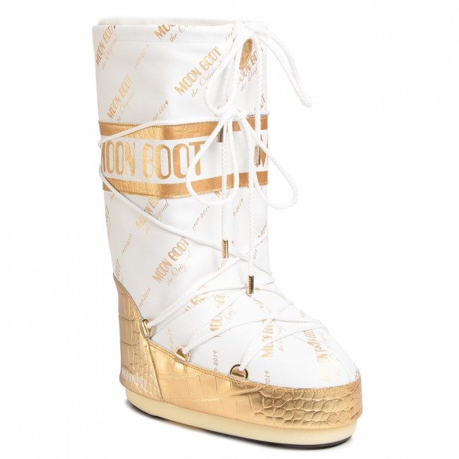 Snehule MOON BOOT - Classic 50 All Over 14025700001 White/Gold