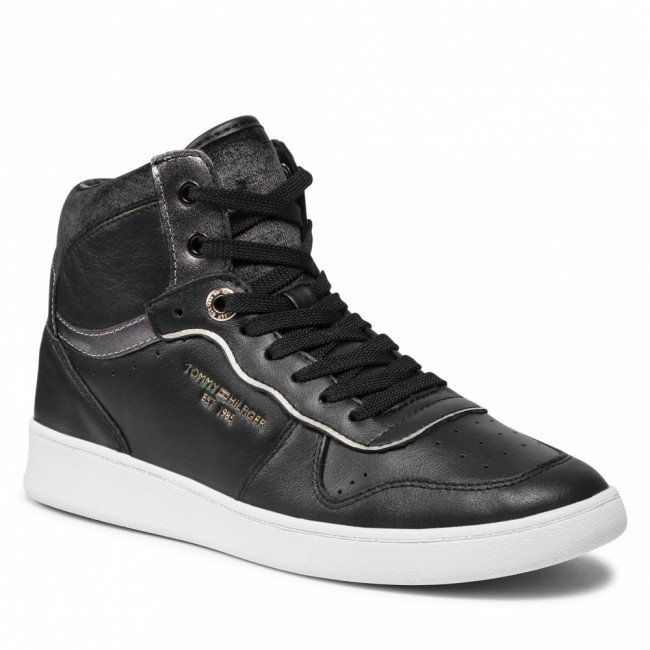 Sneakersy TOMMY HILFIGER - Black Elevated Mid Court Sneaker FW0FW06018 Black BDS