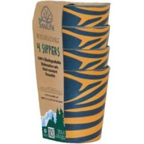 EcoSouLife Biodegradable Sippers 4ks zebraful