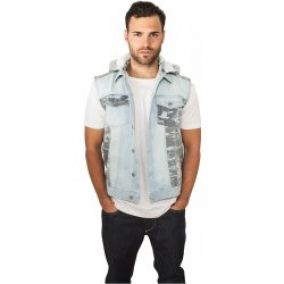 Urban Classics Hooded Camo Denim Vest Light Blue