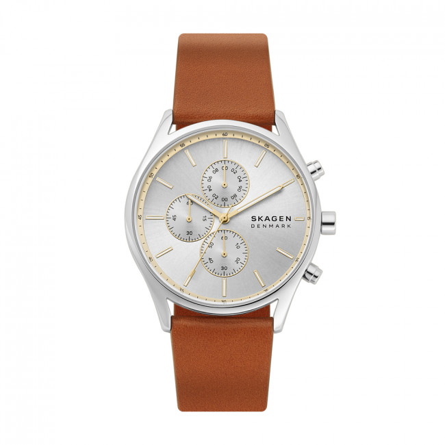 Hodinky SKAGEN - Holst Chronograph SKW6607  Brown/Silver