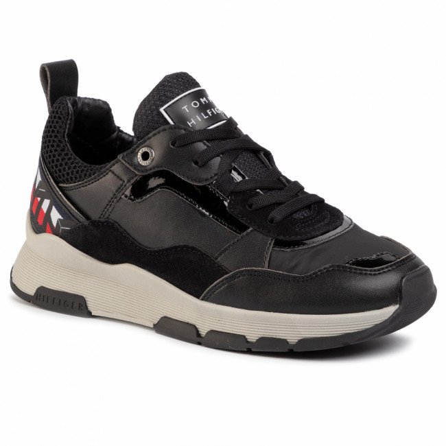 Sneakersy TOMMY HILFIGER - Sparkle Fashion Runner FW0FW04636 Black BDS