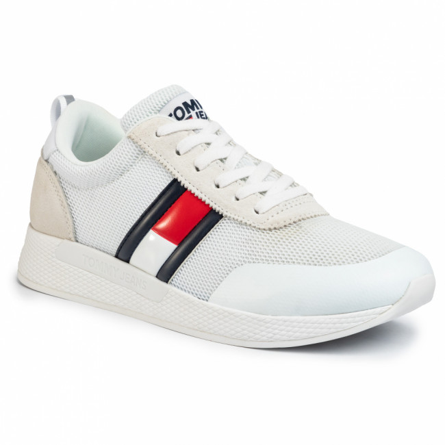Sneakersy TOMMY JEANS - Flexi Tommy Jeans Flag Sneaker EM0EM00400 White YBS