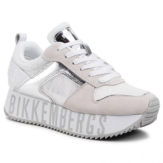 Sneakersy BIKKEMBERGS - Low Top Lace Up B4BKW0096  White/Silver
