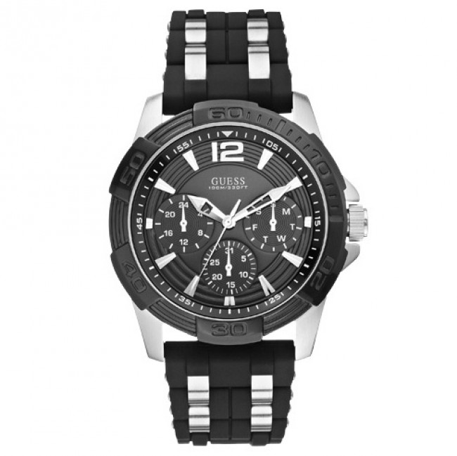 Hodinky GUESS - Oasis W0366G1 BLACK/SILVER TONE