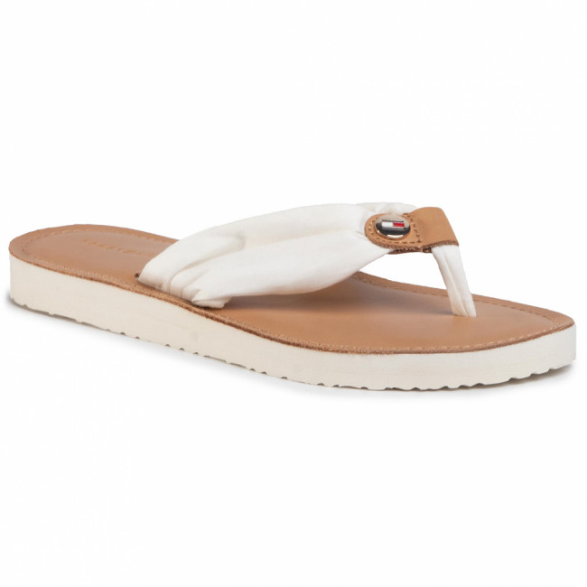 Žabky TOMMY HILFIGER - Leather Footbed Beach Sandal FW0FW00475 Ivory YBI