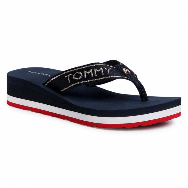 Žabky TOMMY HILFIGER - Metallic  Mid Wedge  Beach Sandal FW0FW04791 Red 0KP
