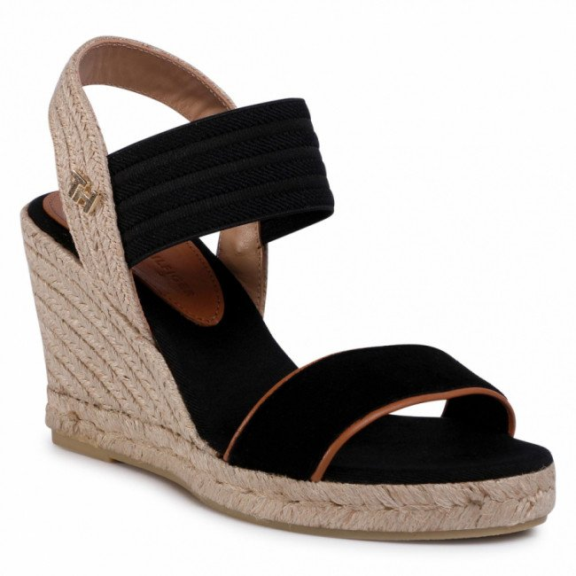 Espadrilky TOMMY HILFIGER - New Tommy Basic Opened Toe Wedge FW0FW04777 Black BDS
