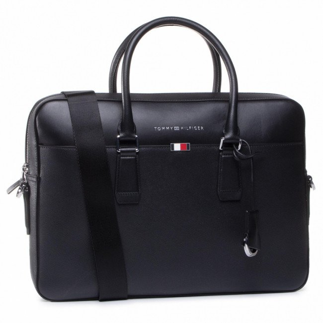 Taška na Laptop TOMMY HILFIGER - Business Leather Slim Comp Bag AM0AM05782 BDS