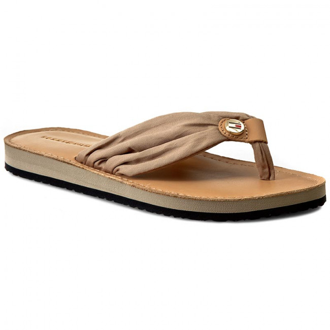 Žabky TOMMY HILFIGER - Leather Footbed Beach Sandal FW0FW00475 Cobblestone 068