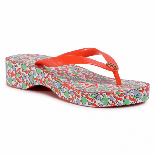 Žabky TORY BURCH - Cut-Out Wedge Flip Flop 63895 Poppy Red//Legacy Paisley 600