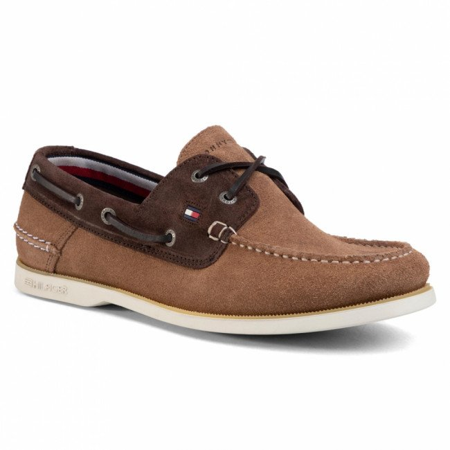 Poltopánky TOMMY HILFIGER - Classic Suede Boatshoe FM0FM02736 Classic Khaki/Cocoa 0HD