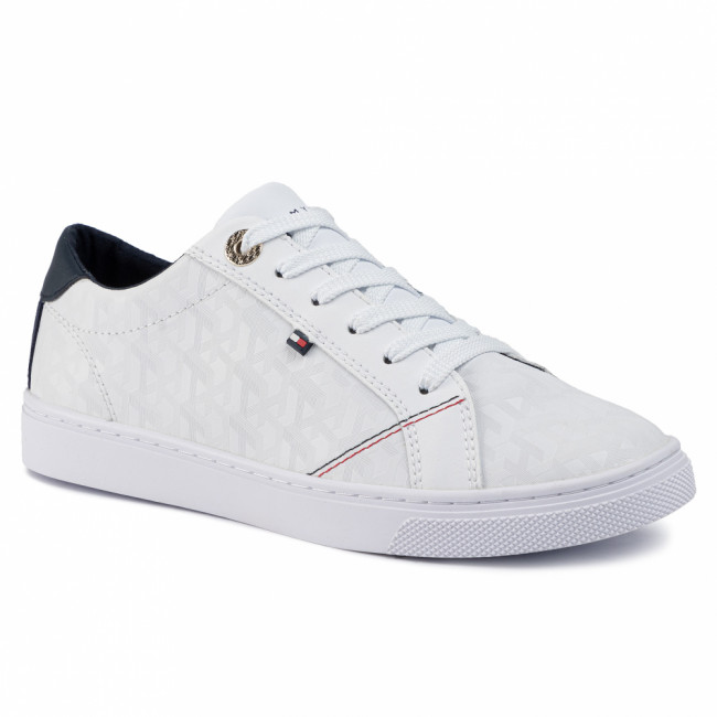 Sneakersy TOMMY HILFIGER - Tommy Jacquard Leather Sneaker FW0FW04602 White YBS