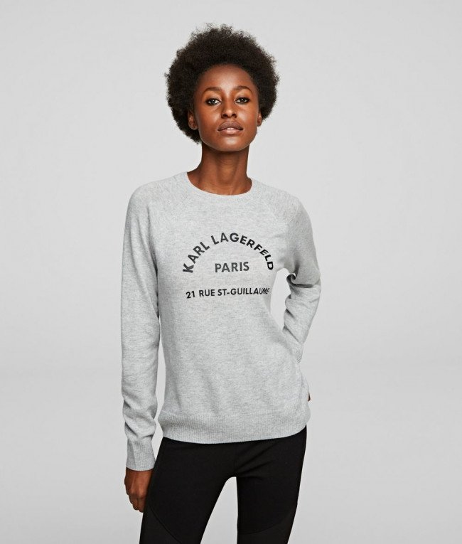 Sveter Karl Lagerfeld Address Logo Sweater - Šedá