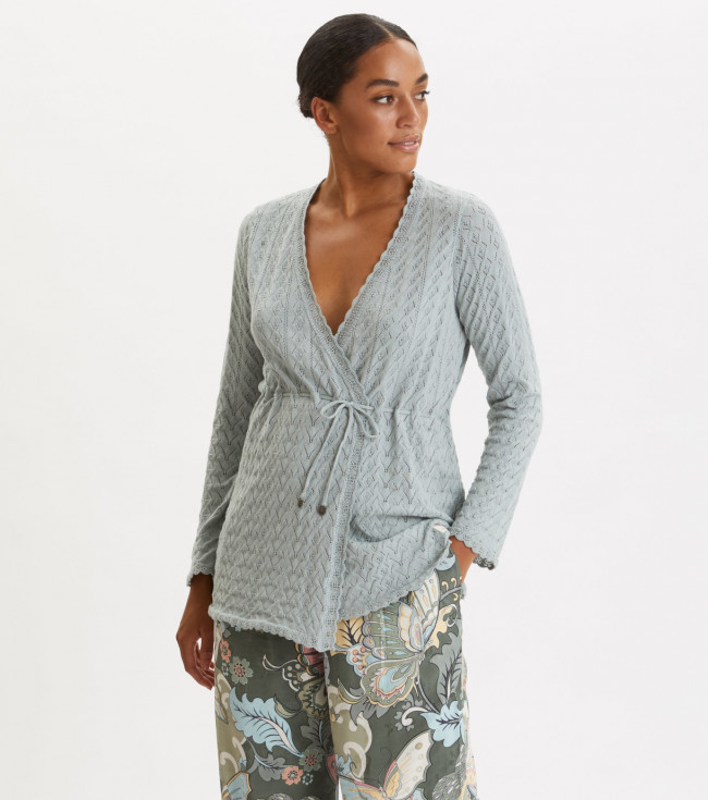 Sveter Odd Molly Wrap Up & Go Long Cardigan - Modrá